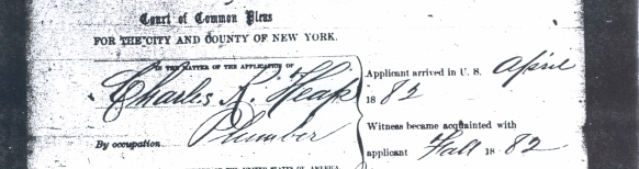 from Charles R. Heaps Naturalization papers New York Common Pleas  Sept 4, 1888