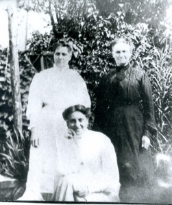 Ada J. (Booth) Heap, Ada (Jones) Booth, and Ada R. (Heap) Dougherty (kneeling)
