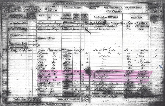 1881 UK Census Southport, Lancashire