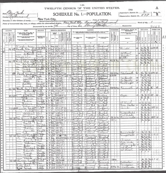 1900 US Census Castleton, Richmond Co. New York