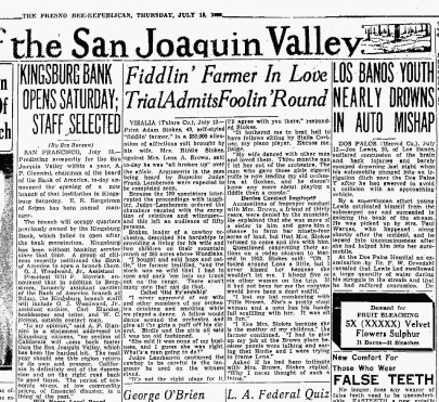 The Fresno Bee July 18, 1933 Fiddlin' Farmer