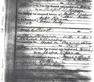 Church Marriage record Alice Robinson & Joseph Booth