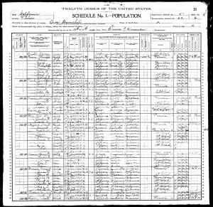 1900 US Census Orosi, Tulare County, California