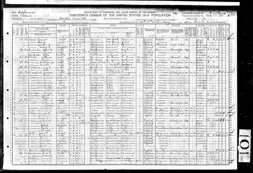 1910 US Census Visalia, Tulare County, California