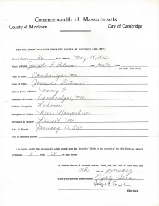 Cambridge, Massachusetts Birth Record Joseph F. Putnam