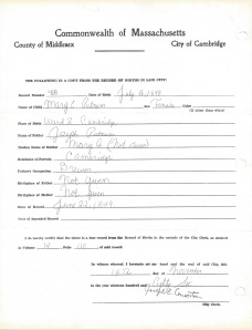 Cambridge, Massachusetts  Record of birth Mary E.Putnam
