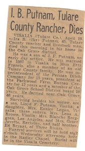 I.B. Putnam Visalia Times 1948