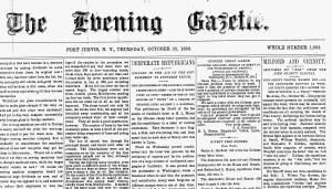 The Evening Gazette Port Jarvis, New York 28 October 1880