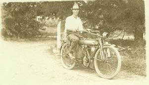 Roy Kornmeyer and Motorcycle 1912Yale