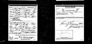 US World War 1 draft Registration card