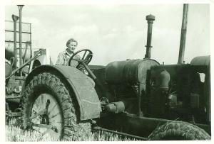Ina Case on Tractor