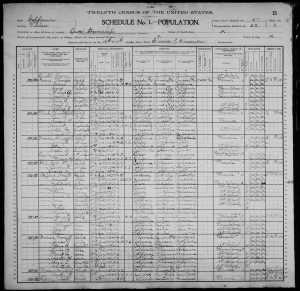 1900 US Census Orosi Tulare County CAlifornia