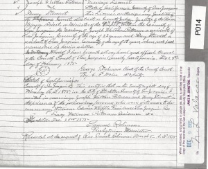 Recorded Marriage Licence  Joseph Fletcher Putnam and Fanny Stewart