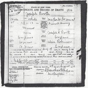 Joseph Booth Death Certificate