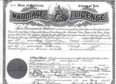 Marriage License Lloyd Fletcher Putnam and Dorothy Ada DOugherty