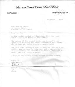 Mother Lode Union School District Letter of Tenure Mrs. Dorothy Putnam