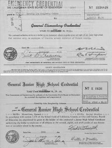 Teaching Certificate California State Board of Education 1943 & 1952