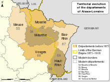 By Alsace_Lorraine_departments_evolution_map-fr.svg: Sémhur (talk)derivative work: OwenBlacker | Discussion (Alsace_Lorraine_departments_evolution_map-fr.svg) [FAL or CC BY-SA 4.0-3.0-2.5-2.0-1.0 (http://creativecommons.org/licenses/by-sa/4.0-3.0-2.5-2.0-1.0)], via Wikimedia Commons