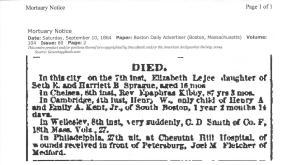 Newspaper Clipping Boston Daily Advertiser Joel M. Fletcher from genealogy bank.com