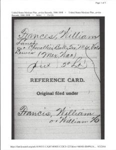 General Index card from Family Search United States Mexican War Service Records 1846-1848
